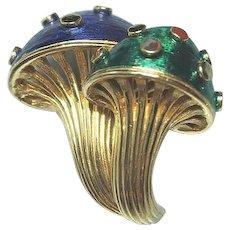 Boucher Double Mushroom Pin / Designer Pin / Vintage Jewelry /Fashion Jewelry