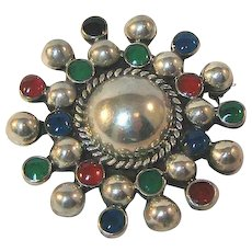 Colorful Pin Sterling Mexico / Vintage Sterling / Collectible Jewelry / Fashion Jewelry