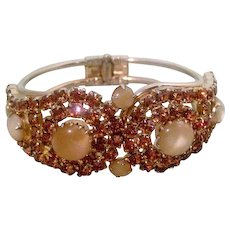 Gorgeous Clamper Bracelet Honey Amber and Moonstones