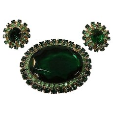 Spectacular Demi Parure with Huge Emerald Green Stone and Matching Earrings / Vintage Jewelry / Fashion Jewelry