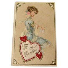Winsch Valentine Postcard / Embossed Postcard / Beautiful Lady Postcard
