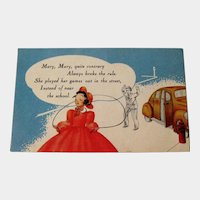 Mary Mary Quite Contrary Insurance Company Advertising Card / Vintage Trade Card / Nursery Rhyme