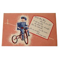 Little Boy Blue  Insurance Company Advertising Card / Vintage Trade Card / Nursery Rhyme