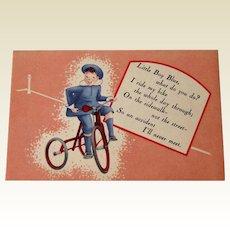 Little Boy Blue  Insurance Company Advertising Card / Vintage Trade Card / Nursery Rhyme