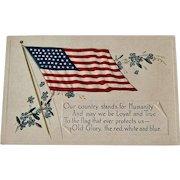 American Flag Postcard / Heavily Embossed American Flag Postcard / Vintage Postcard