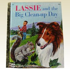 Lassie and the Big Clean up Day / Vintage Little Golden Book / Illustrated Childrens Book / Story Book