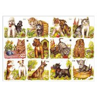 Vintage Die Cuts of Kittens and Puppies / Sheet Die Cuts / Germany Die Cuts