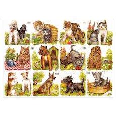 Vintage Die Cuts of Kittens and Puppies / Sheet Die Cuts / Germany Die Cuts