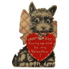 Vintage Scottie Dog Valentine / Valentine's Day Card / USA Valentine