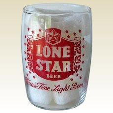 Lone Star Barrel Beer Glass / Vintage Beer Glass / Shorty Beer Glass