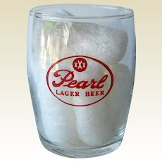 Pearl Barrel Beer Glass / Shorty Beer Glass / Vintage Beer Glass