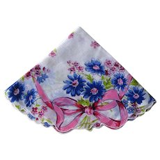 Round Handkerchif with Pink Blue Design / Round Hankie / Collectible Hankie