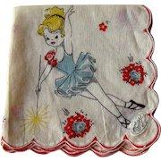 Child's Hankie Ballerina Decoration / Hand Painted Handkerchief / Ballerina Hankie / Collectible Hankie