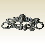 Art Nouveau Revival Pewter Belt Buckle by SandyVal 1971