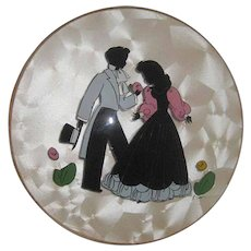 Reverse Painted Silhouette / Courting Couple Silhouette / Peter Watson Studio Hand Painted