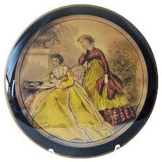 Reverse Painting with Godey Fashion Print / Victorian Fashion / Bilderback Detroit