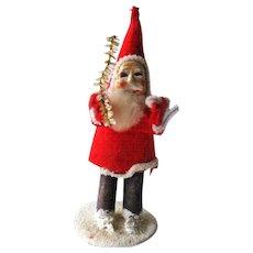 Vintage Standing Santa 1940s / Felt Santa / Holiday Home Decor / Holiday Decoration / Holiday Figurine