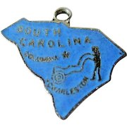 South Carolina State Charm Enamel Silver-Tone / Charm Bracelet / Costume Jewelry / Vintage Charm