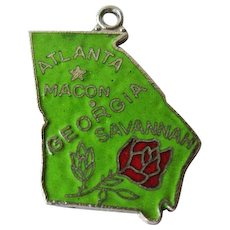 Georgia State Charm Enamel Silver-Tone / Charm Bracelet / Costume Jewelry / Vintage Charm