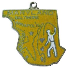 Maryland State Charm Enamel Silver-Tone / Charm Bracelet / Costume Jewelry / Vintage Charm