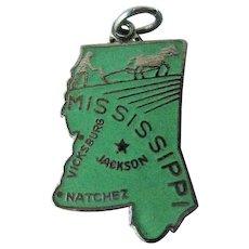 Mississippi State Charm Enamel Silver-Tone / Charm Bracelet / Costume Jewelry / Vintage Charm