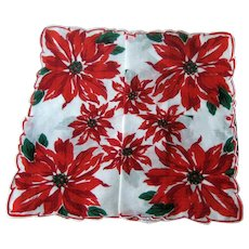 Christmas Hankie with Large Poinsettia Pattern / Holiday Hankie / Vintage Handkerchief