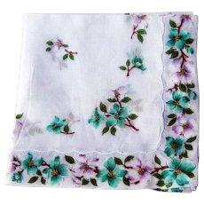 Hankie with Dogwood Decoration/ Vintage Hankie / Vintage Handkerchief