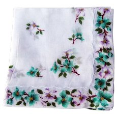 Hankie with Dogwood Decoration/ Vintage Hankie / Vintage Handkerchief