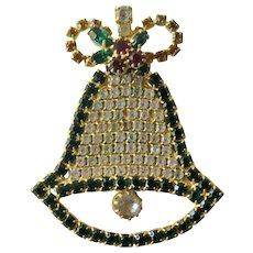 Christmas Bell Pin / Christmas Brooch / Holiday Pin / Christmas Bell