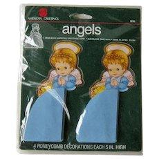 Honeycomb Angel Decorations / Four Honeycomb Angles / Holiday Decor / Christmas Collectible / Vintage Christmas