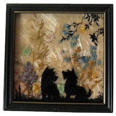 Scottie Dogs Reverse Painted Silhouette  / Wood Frame Scotties Silhouette / Milkweed Background / Vintage Home Decor / Vintage Wall Hanging