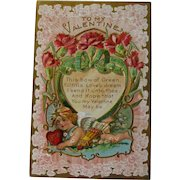 Valentine Postcard with Cupid Carrying Quill and Arrows / Embossed Lacy Background / Vintage Valentine / Ephemera