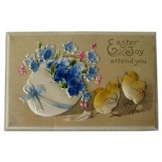 Easter Postcard Flocked Flowers / Postcard Egg and Chicks / Double Layer Postcard / Vintage Postcard / Ephemera