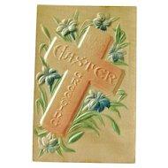 Silk Easter Postcard / Cross Postcard / Heavily Embossed Postcard / Collectible Postcard / Ephemera