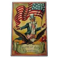 Uncle Sam Fourth of July Postcard / 1910 Postcard / Patriotic Postcard
