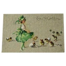Easter Postcard Girl with Hatching Chicks / Vintage Postcard / Collectible Postcard / Gilt Postcard