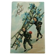 German New Year Chimney Sweepers Postcard / Gel Postcard / German Postcard / Collectible Postcard / Vintage Postcard