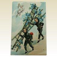 German New Year Chimney Sweepers Postcard / Gel Postcard / German Postcard / Collectible Postcard / Vintage Postcard