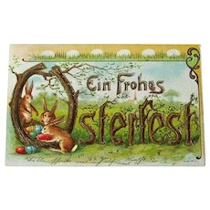 German Easter Postcard Featuring Bunnies and Eggs /  Ein Frohes Osterfest Greeting / Collectible Postcard / Vintage Postcard