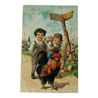 Easter Postcard Children and Rooster / Vintage Postcard / Easter Postcard / Collectible Postcard