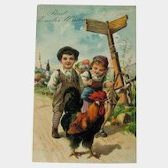 Easter Postcard Children and Rooster / Vintage Postcard / Easter Postcard / Collectible Postcard