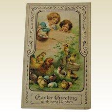 Easter Postcard Children Watching Hen and Chicks / Embossed Easter Postcard / Ephemera / Vintage Postcard