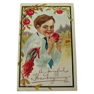 Thanksgiving Postcard Boy Eating Apple / Holiday Postcard / Thanksgiving Turkey / Vintage Postcard