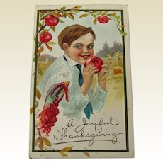 Thanksgiving Postcard Boy Eating Apple / Holiday Postcard / Thanksgiving Turkey / Vintage Postcard