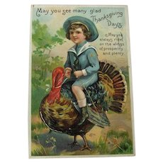 Thanksgiving Postcard Boy Riding Turkey / Vintage Postcard / Holiday Postcard
