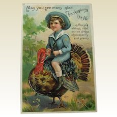 Thanksgiving Postcard Boy Riding Turkey / Vintage Postcard / Holiday Postcard
