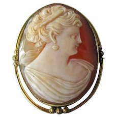 Gorgeous Shell Cameo Unusual Gold Filled Bezel / Vintage Cameo / Collectible Jewelry / Vintage Jewelry / Gold Filled Cameo / Fashion Jewelry