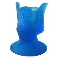 Westmoreland Blue Satin Owl Toothpick Holder / Vintage Westmoreland / Toothpick Holder