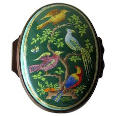 Halcyon Days Enamel Box with Colorful Birds / Hand Painted Box / Trinket Dresser Box