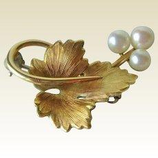 Krementz Gold Tone Leaf Pn Cultured Pearls